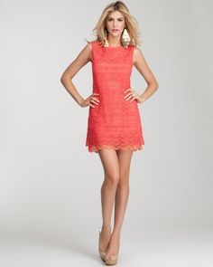 Hibiscus Macrame Lace Shift Dress