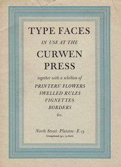 Typefaces in use at the Curwen Press, 1952 - cover