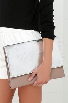 #Metallic #Silver #Clutch #handbag #bag #fashion #women #style