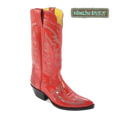 Red Patent Leather Rose Cowboy Boots, $400 - All-Leather Cowboy Boots - Handmade…
