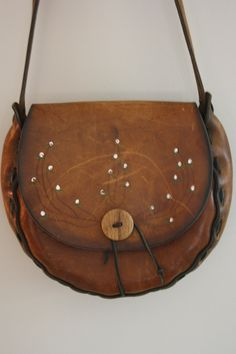 36a0e5f1bda0 1970 s tooled Leather Crossbody Handbag.  22.00