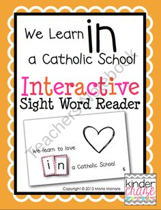 We Learn in a Catholic School Interactive Sight Word Reader FREE