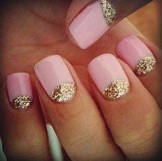Show Me Your Wedding Nails (or what you plan to do)! : wedding bridal nails french manicure gel manicure lace nails manicure nail art nails wedding nails Pale Pink Nails With Glitter pretty with white nail Fancy Nails, Love Nails, Pretty Nails, Dream Nails, Manicures, Gel Nails, Acrylic Nails, Polish Nails, Pink Polish