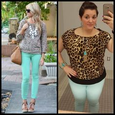 #ChubbyChique 8-7-2015 #ootd #augustpinneditspinnedit Mint and leopard inspiration