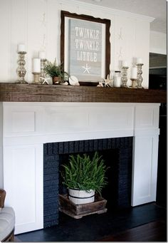 plant in frieplace, like it Love The Lettered Cottage design style www.theletteredcottage.com
