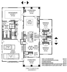 Single story open floor plans one story 3 bedroom 2 for Half basement house plans