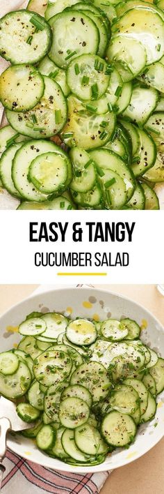 This easy quick pickled cucumber salad is the simple summer side your dinner is missing. Pairs perfectly when served with grilled meats like chicken fish pork fish and beef. You'll need cucumbers for this recipe sugar vinegar green onions olive oi Pickled Cucumber Salad, Quick Pickled Cucumbers, Pickling Cucumbers, How To Pickle Cucumbers, Cucumber Bites, Pickled Onions, Cucumber Recipes, Vegetable Recipes, Vegetarian Recipes