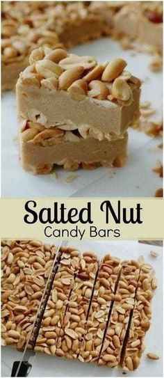 Salted Nut Candy Bars-youll love the sweet, salty combination of these candy bars, just a few ingredients, no-bake and they make a great gift for the holidays! Salted Nut Candy Bars-youll l Brownie Desserts, Just Desserts, Delicious Desserts, Holiday Baking, Christmas Baking, Christmas Recipes, Christmas Crack, Homemade Christmas Candy, Handmade Christmas