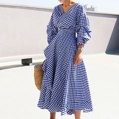 Plaid wrap dress Elegant long lantern sleeve bow belt short dress party summer spring ruffles V-neck dresses vestidos Modest Fashion, Fashion Dresses, Feminine Fashion, Classy Fashion, Petite Fashion, French Fashion, Casual Dresses, Summer Dresses, Women's Casual