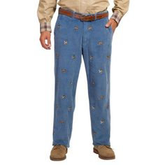 Wide Wale Corduroy Pants in Storm Blue with Bird Dog by Castaway Clothing