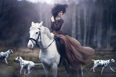 hunting party gown woman dogs horse glamor hat - love the editing style on this too, her makeup is lovely.