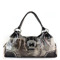 Pewter Western Buckle Rhinestone Handbag