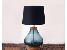 Clear Glass Table Lamp with Wood Base