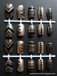 Black & Gold Aztec / Tribal Handpainted Nail Art {Lyndar the Merciless, false nails, fake nails, artificial nails, press on nails, triangles, angular, graphic, Navajo}
