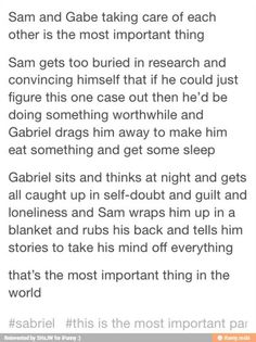 Aww I'm not as big on Sabriel as I am on Destiel but this is still really sweet.