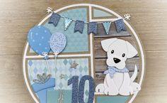 Dog Cards, Kids Cards, Baby Cards, Scrapbook Templates, Scrapbook Cards, Baby Birthday Card, Marianne Design Cards, Paper Animals, Shaped Cards