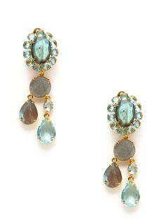 Blue Quartz & Labradorite Drop Earrings by Bounkit at Gilt