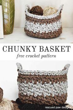 Chunky Crochet Basket Pattern ⋆ Rescued Paw Designs Crochet by Krista Cagle Crochet Basket Tutorial, Crochet Basket Pattern, Knit Basket, Crochet Flower Patterns, Crochet Baskets, Crochet Designs, Crochet Flowers, Basket Weaving, Quick Crochet