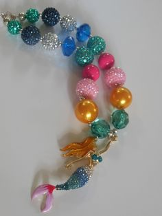 Amazing mermaid chunky bead necklace you wont see this one anywhere. 18.00 shipped at Lemon Lime Designz Chunky Jewerly.