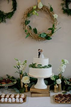 vintage green and gold wedding inspiration dessert table styled by Event Crush / photography by Jamie Zanotti