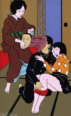 """akatako: """" from """"Yumenozoki"""" by Toshio Saeki """" Japanese Artwork, Japanese Illustration, Illustration Art, Japanese Horror, Sculpture, Japan Painting, Japanese Monster, Geisha Art, Japanese Characters"""