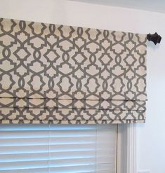 Lined Faux Roman Shade Grey/ Natural Geometric Trellis Mock | Etsy