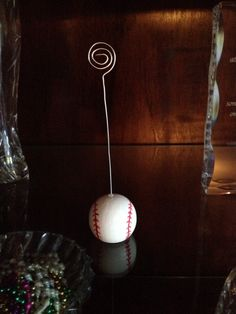 Place card holder for baseball wedding