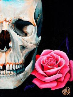 Rose Skull by Christina Ramos #inked #inkedshop #inkedmagazine #art #skull