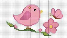 schema a punto croce - uccellino