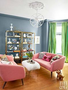 living room with plush pink couches