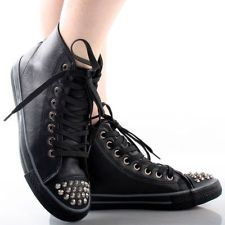Black Spike Studded Toe Lace Up Sneakers Faux Leather Women Flat Ankle Boots 6