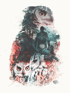 TITLE: The Owls are Not What They Seem Twin Peaks inspired SIZES: (fits standard frame sizes) 8x10 with 1 white border for easy framing/matting