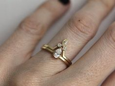 Engagement Ring Pear Diamond Engagement Ring With by MinimalVS