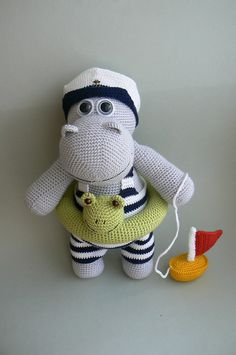 Hippo who loves to swim, crochet pattern by Katka Reznickova for sale on Ravelry. In English and Czech Crochet Hippo, Crochet Amigurumi, Love Crochet, Amigurumi Doll, Crochet Animals, Diy Crochet, Crochet Crafts, Crochet Dolls, Crochet Projects