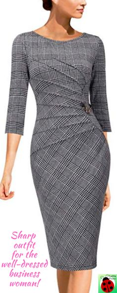 Womens Elegant Ruched Work Business Office Cocktail Sheath Dress - Outfits for Work Dress Attire, Work Attire, Dress Outfits, Fashion Dresses, Outfit Work, Look Fashion, Womens Fashion, Fashion Ideas, Business Dresses