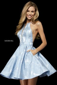 Sherri Hill 52254 silk charmeuse cocktail dress with high neck bodice and cut out back. - Short Dresses - Sherri Hill 52254 silk charmeuse cocktail dress with high neck bodice and cut out back. Sherri Hill Short Dresses, Sherri Hill Homecoming Dresses, Grad Dresses Short, Hoco Dresses, Satin Dresses, Evening Dresses, Formal Dresses, Light Blue Homecoming Dresses, Dance Dresses
