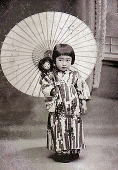 vintage photo of cute little Japanese girl