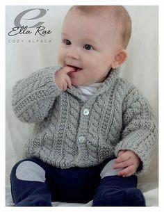 Aida top down Cardigan - Knitting pattern by OGE Knitwear Designs Boys Cabled Cardigan in Ella Rae Cozy Alpaca - Baby Cardigan Knitting Pattern Free, Crochet Baby Cardigan, Knit Baby Sweaters, Cardigan Pattern, Baby Knitting Patterns, Booties Crochet, Crochet Hats, Brei Baby, Knitting For Kids