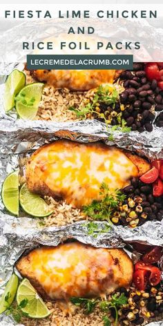 Fiesta Lime Chicken and Rice Foil Packs are a great way to grill up a whole meal at once! All the flavors of Mexican chicken that you love in one tidy, tasty package. Serve with smoky, tangy, lime… Fiesta Lime Chicken, Mexican Chicken, Lime Chicken Recipes, Grilling Recipes, Cooking Recipes, Healthy Recipes, Kitchen Recipes, Mexican Food Recipes, Dinner Recipes