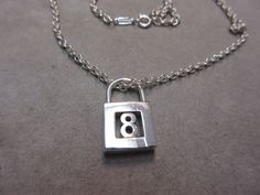 Tiffany & Co. Sterling Silver Lock Charm # 8 Pendant Necklace #TiffanyCo #Pendant