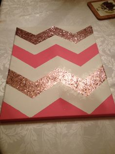 Cute pink chevron glitter canvas art