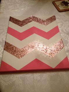 Cute pink chevron glitter canvas art