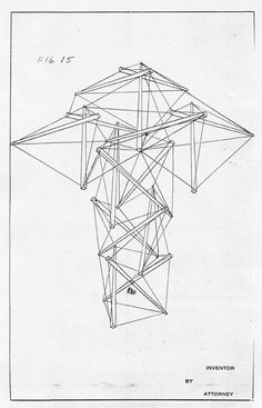 Patent drawing for Snelson's Tensigrity structure, 1962.