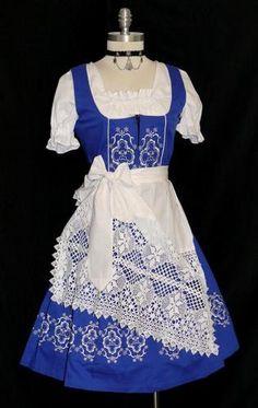 NEW ~ 3pc LONG BLUE German Garden Party Sun OKTOBERFEST Dirndl Dress 32 2 XS