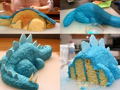 Blue Dinosaur Fondant Cake: Dinosaur Birthday Cake