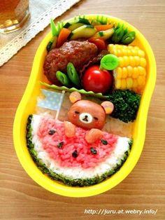 日本人のごはん/お弁当 Japanese Bento. 夏ヴァージョン, ご飯が西瓜になってます♫(^ω^)