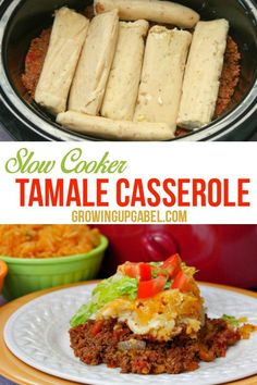 This easy slow cooker casserole is great for kids and adults! Easy layers of chili, tamales, corn chips and cheese create a delicious Mexican fiesta for dinner. Tamale Casserole, Slow Cooker Casserole, Crock Pot Slow Cooker, Crock Pot Cooking, Pressure Cooker Recipes, Casserole Recipes, Cornbread Casserole, Crock Pots, Freezer Cooking