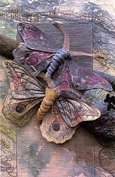 Lovely moths idea from inlovewiththreads | Threads, fibres, fabrics; embroidery, stitching, creating
