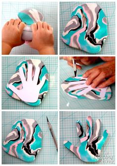 Family members love receiving handprint crafts that kids can make.This DIY marbled clay jewelry dish keepsake craft makes a unique homemade gift idea! A ring bowl and jewelry dish for mom, dad, and the grandparents.