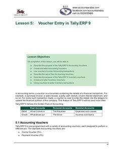 83Lesson 5: Voucher Entry in Tally.ERP 9In accounting terms, a voucher is a document containing the details of a financial...